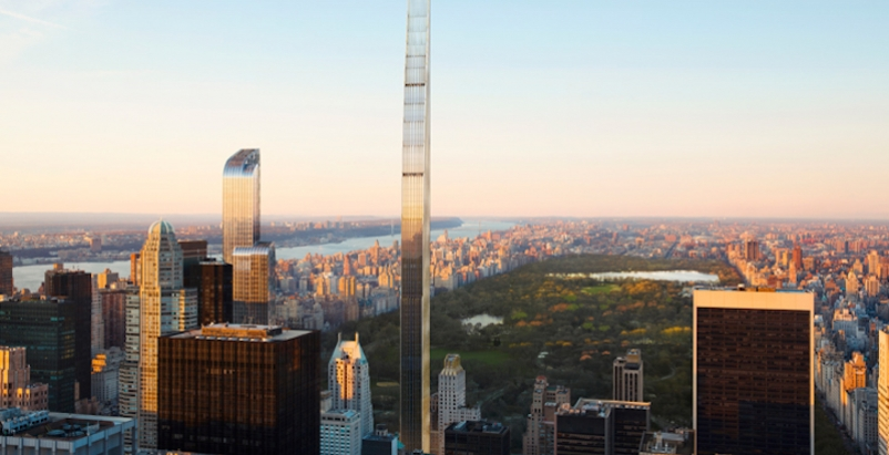 A rendering of the completed 111 West 57th Tower by SHoP Architects