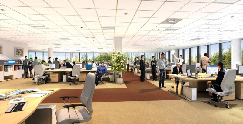 Open plan office space, Steelcase, Gensler, Deezen