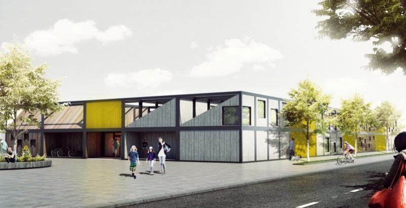 Polish architect designs modular 'kids city' kindergarten using shipping container frames