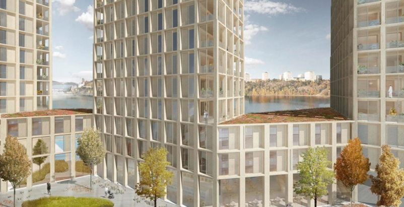 Timber residential high-rise will tower over Stockholm waterfront