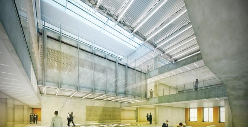Atrium of the PORTAL at UNC Charlotte.