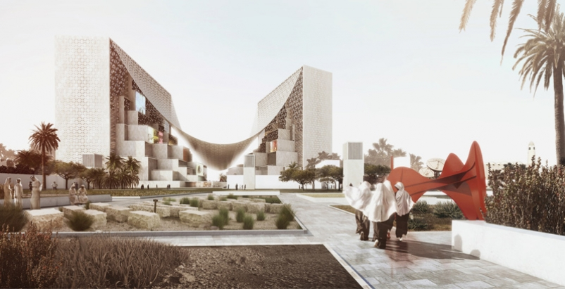 BIG proposes canopied, vertical village for Middle East media company