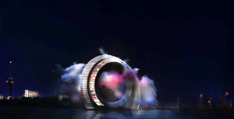 Massive windmill will double as mixed-use entertainment tower in Rotterdam
