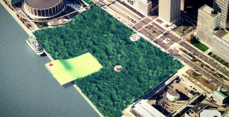 The winning proposal would create a green space in place of an existing concrete