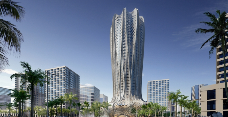 Zaha Hadid designs geometric flower-shaped tower for sustainable Qatar city