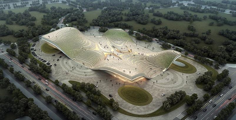 Massive exhibition space in Inner Mongolia replicates steppe landscape