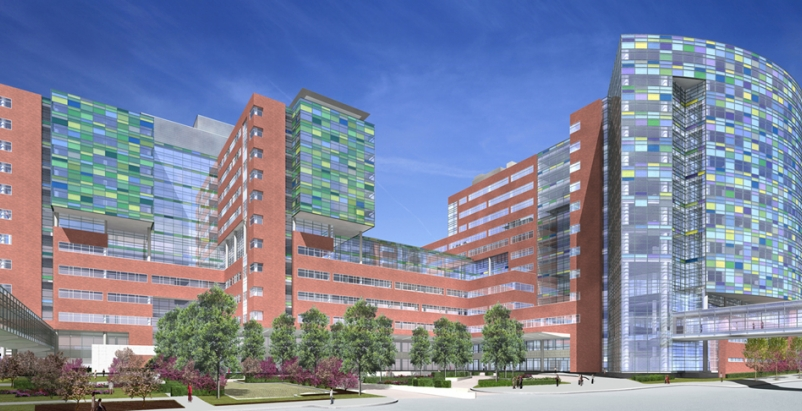 The complex includes 560 private patient rooms, 33 state-of-the-art operating ro