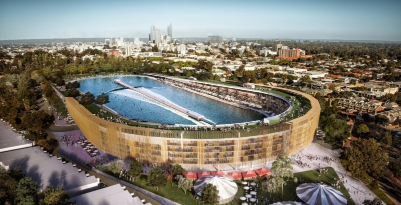 MJA Studio proposes to turn old Australian stadium into a complex with giant surf pool