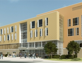 A rendering of the new 122,000-sf Library & Learning Commons at Salem State Univ