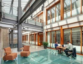 Fire-rated glass floor system study area. Photo: courtesy TGP