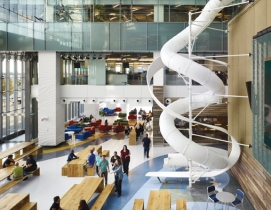 The colorful ribboned flooring at Torontos Corus Quay mimics the iconic corkscr