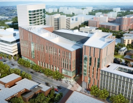 A view of the new medical school from Main Street (Rendering by HOK)