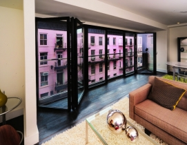 The interior of a 60 Orchard Street condo with a NanaWall