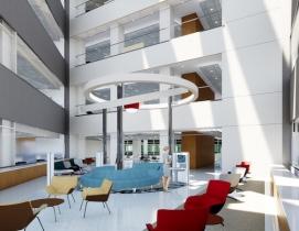 Interior collaboration area in St. Jude's advanced research center