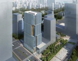 The 24-story tower totals 87,570 square meters overall, including 49,110 square