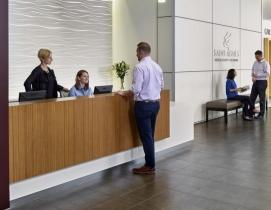 A lobby at a hospital