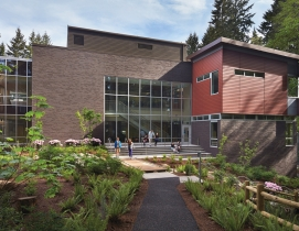 Cherry Crest Elementary, Bellevue, Wash., is integrated with the landscape to cr