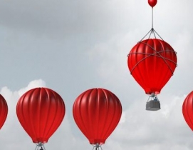 Red hot air balloons