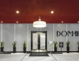 The front door and facade of Domain West Hollywood