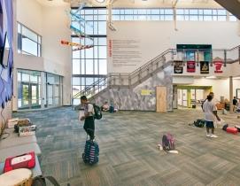 The LEED Gold Evie Garret Dennis E-12 Campus supports 1,600 Pre-K through 12th-g