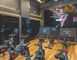 Peloton cycling studio at Spoke Apartments