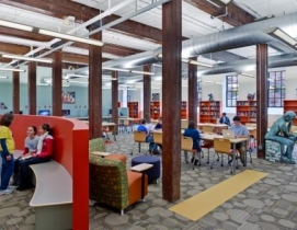 The interior design includes carpet with 65% recycled content, light fixtures re