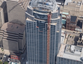 The 13-story tiara brings the height of the building to 665 feet, making it Cinc