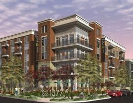 Atlanta's @1377 complex will feature brick cladding and stucco accents.