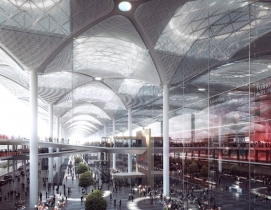 The terminal is expected to serve 150 million passengers per year. Renderings: c