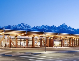 Exposed glulam framework offers quiet complement to Jackson Hole airport's mountain backdrop