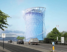 A rendering of the reimagined energy tower in Heidelberg from LAVA