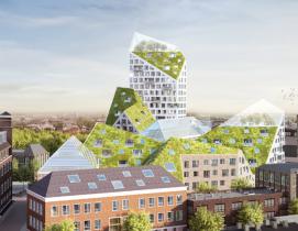 Rendering of Nieuw Bergen rising above existing buildings in the area