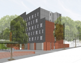 Rendering of RISD new residence hall