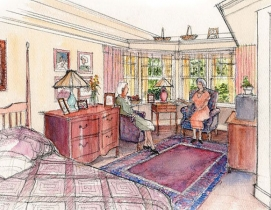 A rendering of a senior care room