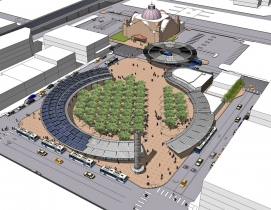 The design vision for Westside Multimodal Transit Center balances mass transit w