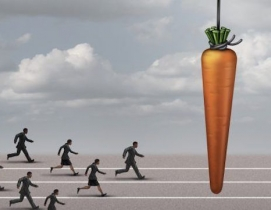 Image of people chasing a giant carrot