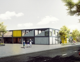 Polish architect designs modular 'kids city' kindergarten using shipping container frames