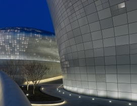 "Hadid calls the plaza a ""green oasis"" in the midst of the urban Dongdaemun distr"