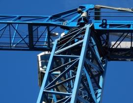 A crane against the blue sky