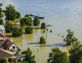 Flood waters in a neighborhood