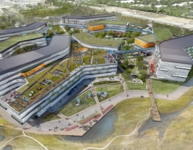 "The new ""Googleplex"" will feature green roofs and common spaces."