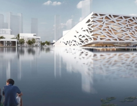 Henning Larsen designs an opera house that slopes above a lake in China