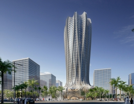 Zaha Hadid designs geometric flower-shaped tower for sustainable Qatar city