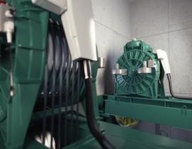 KONE UltraRope elevator hoisting machine.