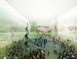 The design involves two separate buildings: a theater and museum. Renderings: co