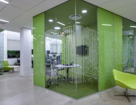A large variety of loosely structured spaces contrast with small, private meetin