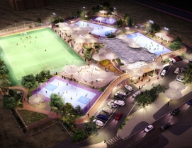 The canopies will provide shade and note paths to recreation and seating areas.
