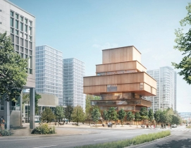 The bulk of the Vancouver Art Gallery will be high above street level. Renderings courtesy Herzog & de Meuron (via ArchDaily).
