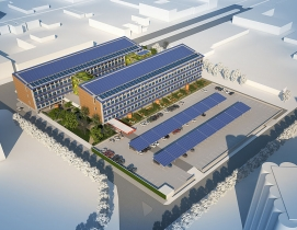 The 170,735-sf net zero emissions office building prototype in St. Louis, Mo., d
